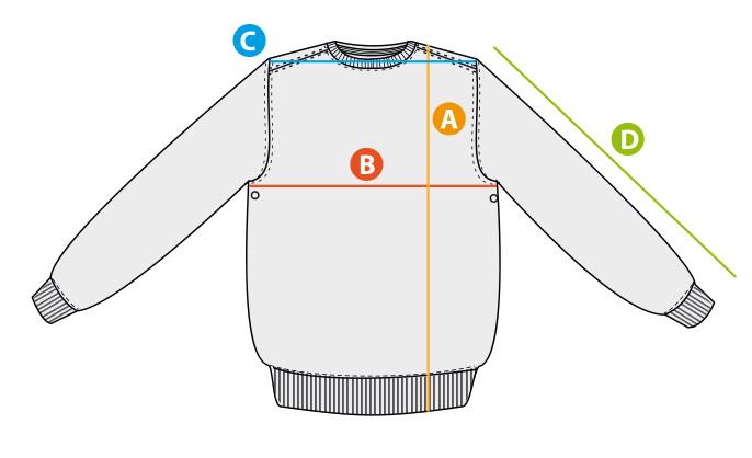 Größentabelle Sweatshirt